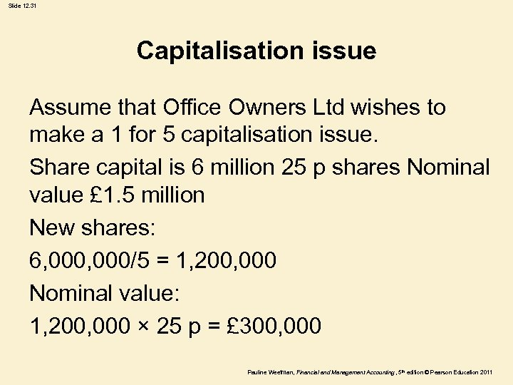 Slide 12. 31 Capitalisation issue Assume that Office Owners Ltd wishes to make a