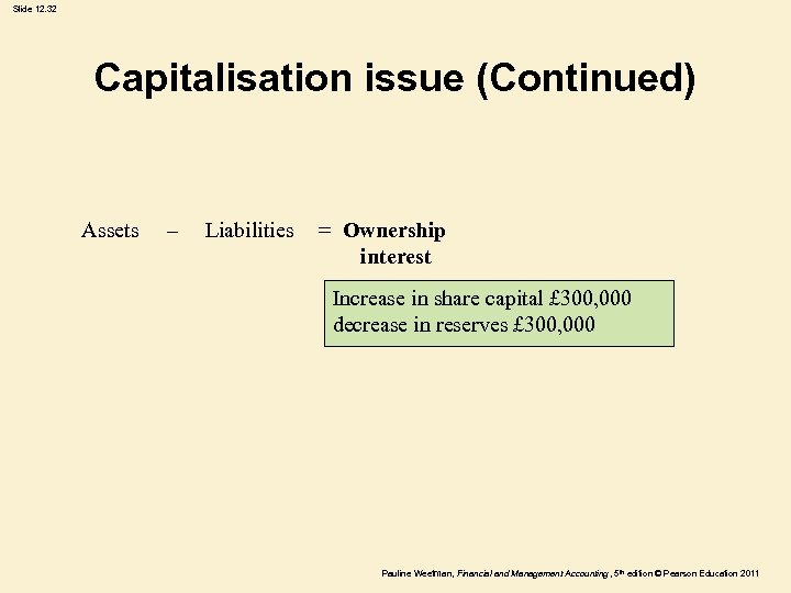 Slide 12. 32 Capitalisation issue (Continued) Assets – Liabilities = Ownership interest Increase in