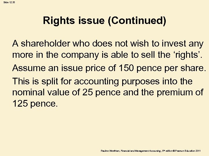 Slide 12. 35 Rights issue (Continued) A shareholder who does not wish to invest