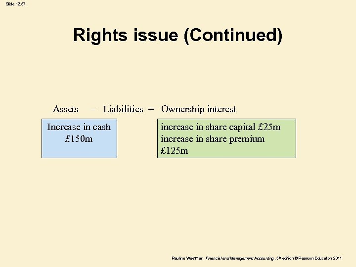 Slide 12. 37 Rights issue (Continued) Assets – Liabilities = Ownership interest Increase in