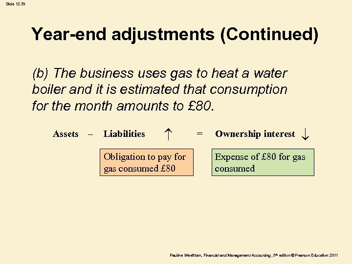 Slide 12. 39 Year-end adjustments (Continued) (b) The business uses gas to heat a