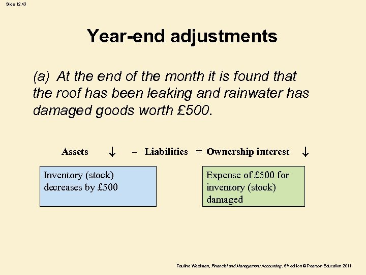 Slide 12. 43 Year-end adjustments (a) At the end of the month it is