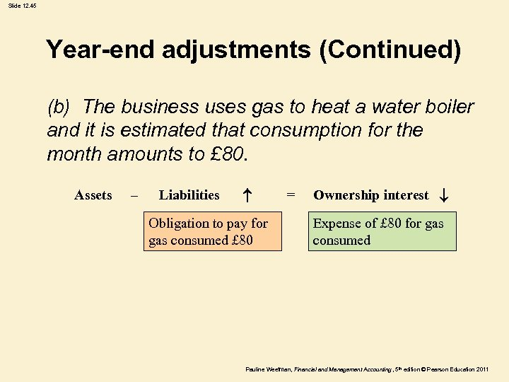 Slide 12. 45 Year-end adjustments (Continued) (b) The business uses gas to heat a