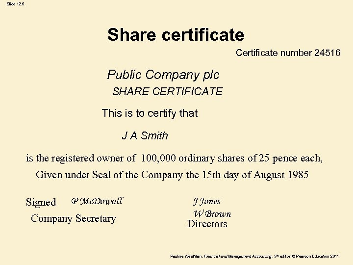 Slide 12. 5 Share certificate Certificate number 24516 Public Company plc SHARE CERTIFICATE This