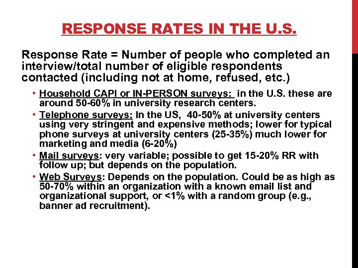RESPONSE RATES IN THE U. S. Response Rate = Number of people who completed