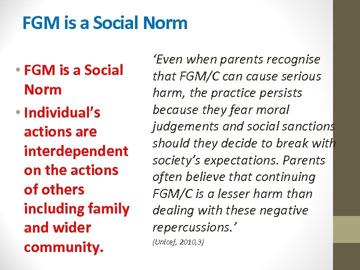 FGM is a Social Norm • Individual's actions are interdependent on the actions of
