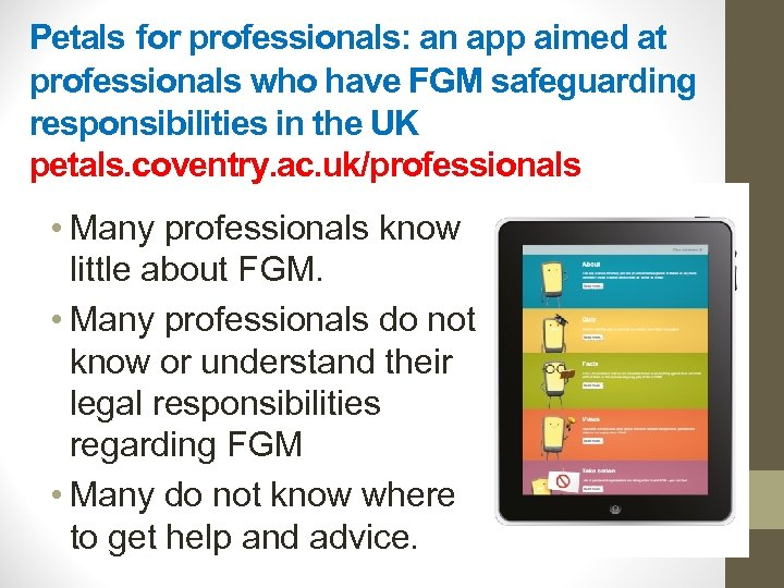 Petals for professionals: an app aimed at professionals who have FGM safeguarding responsibilities in
