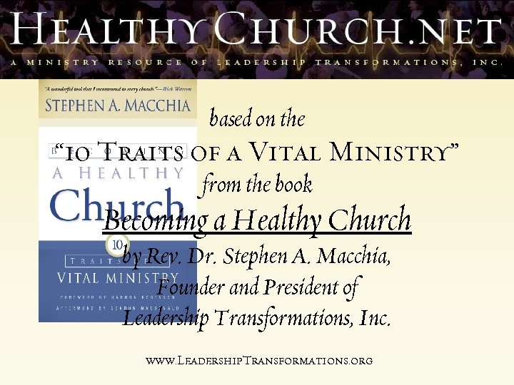 """based on the """" 10 Traits of a Vital Ministry"""" from the book Becoming"""