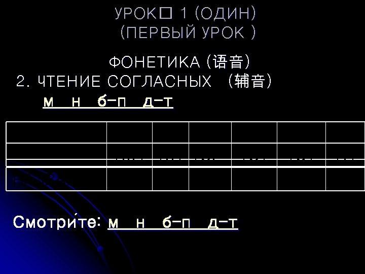 УРОК 1 (ОДИН) (ПЕРВЫЙ УРОК ) ФОНЕТИКА (语音) 2. ЧТЕНИЕ СОГЛАСНЫХ (辅音) м н