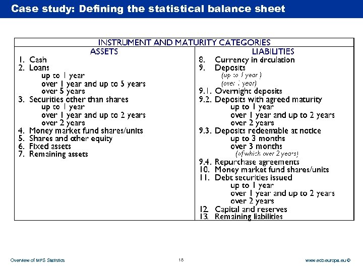 Case Rubric study: Defining the statistical balance sheet Overview of MFS Statistics 18 www.