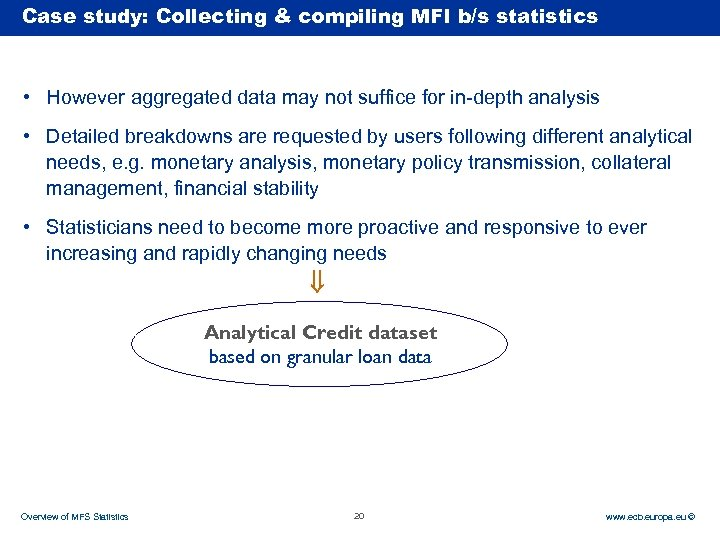Case Rubric study: Collecting & compiling MFI b/s statistics • However aggregated data may