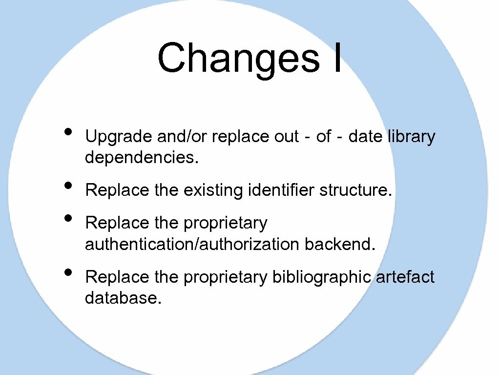 Changes I • • Upgrade and/or replace out‐of‐date library dependencies. Replace the existing identifier