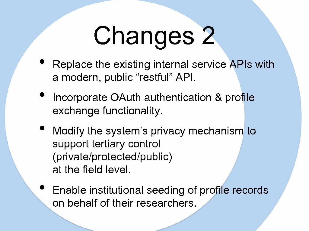 Changes 2 • • Replace the existing internal service APIs with a modern, public