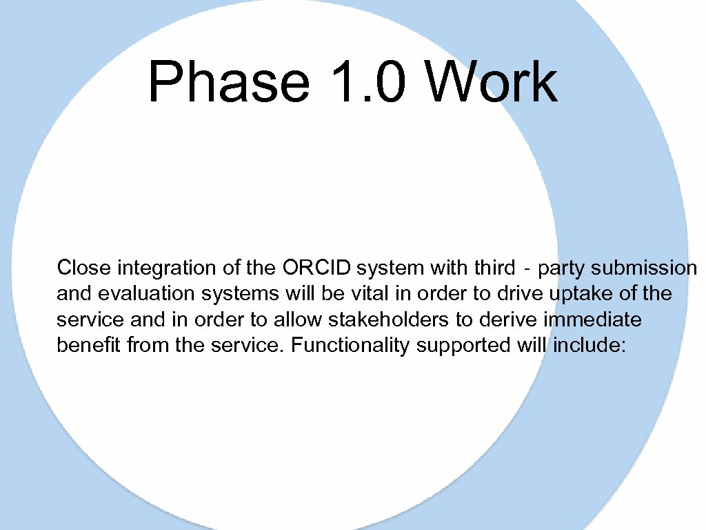 Phase 1. 0 Work Close integration of the ORCID system with third‐party submission and