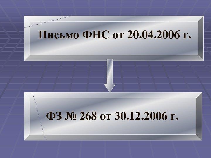 Письмо ФНС от 20. 04. 2006 г. ФЗ № 268 от 30. 12. 2006