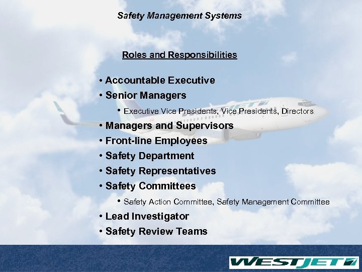 Safety Management Systems Roles and Responsibilities • Accountable Executive • Senior Managers • Executive