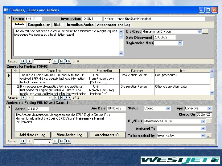 Safety Management Systems Database Findings / Causes / Actions Page