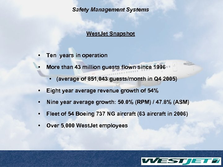 Safety Management Systems West. Jet Snapshot • Ten years in operation • More than