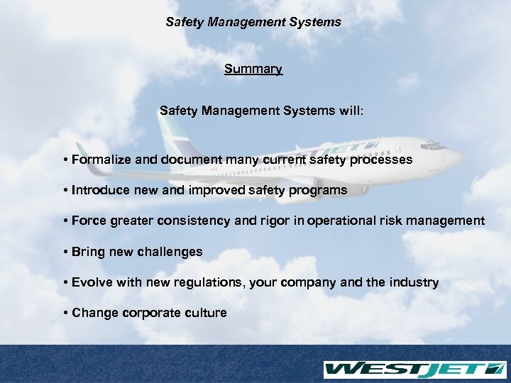 Safety Management Systems Summary Safety Management Systems will: • Formalize and document many current