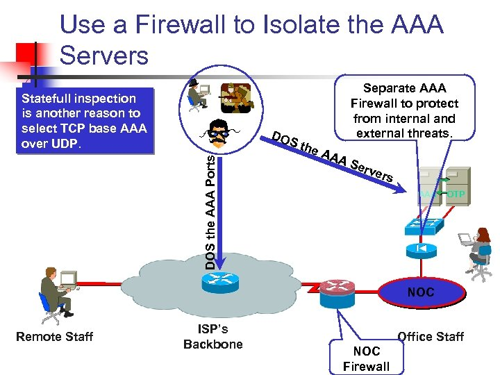 Use a Firewall to Isolate the AAA Servers Statefull inspection is another reason to