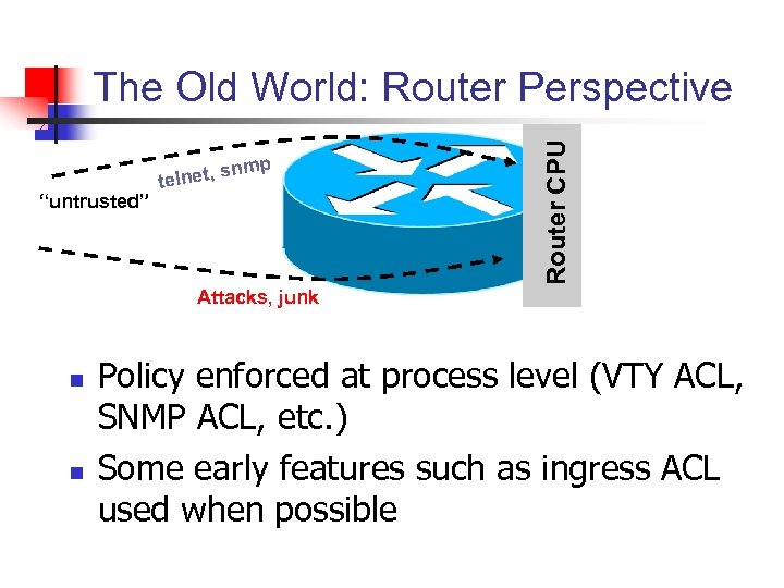 """nmp """"untrusted"""" s telnet, Router CPU The Old World: Router Perspective Attacks, junk n"""