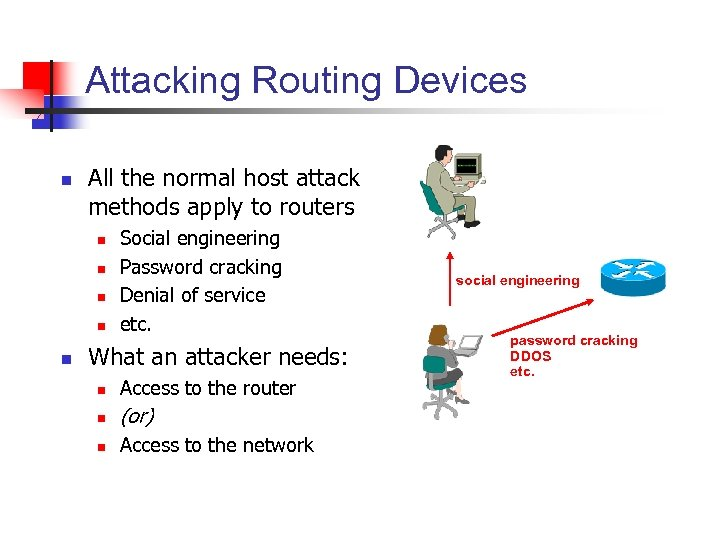 Attacking Routing Devices n All the normal host attack methods apply to routers n