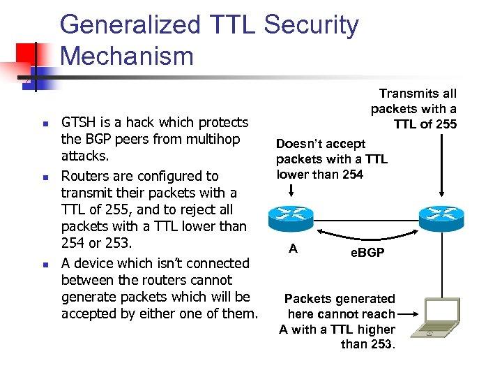 Generalized TTL Security Mechanism n n n GTSH is a hack which protects the