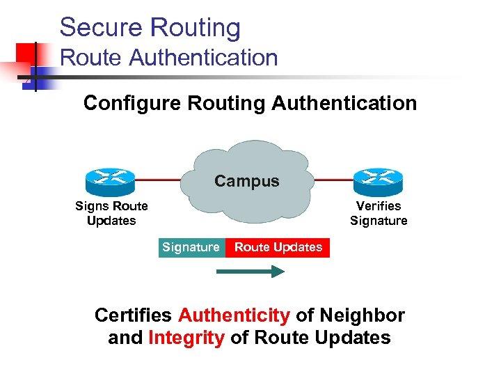 Secure Routing Route Authentication Configure Routing Authentication Campus Signs Route Updates Verifies Signature Route