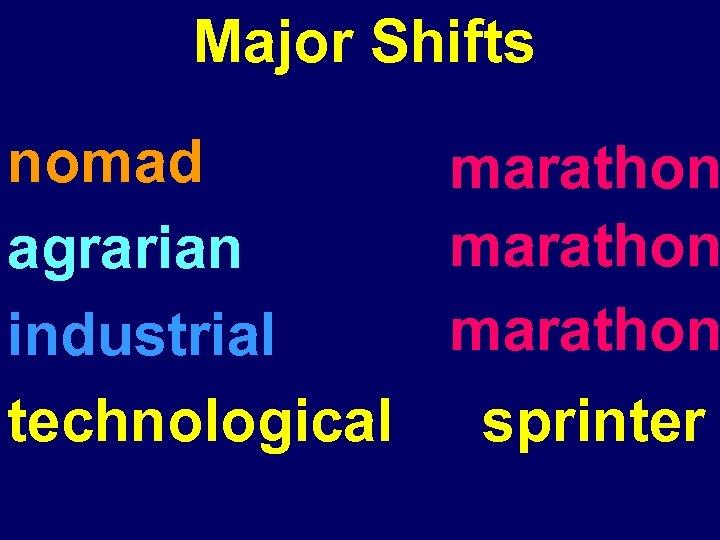 Major Shifts nomad marathon agrarian marathon industrial technological sprinter
