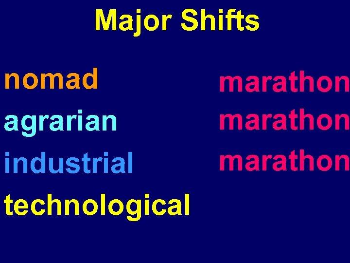 Major Shifts nomad marathon agrarian marathon industrial technological