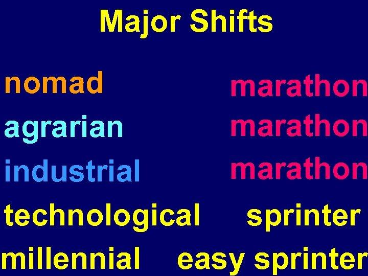 Major Shifts nomad marathon agrarian marathon industrial technological sprinter millennial easy sprinter