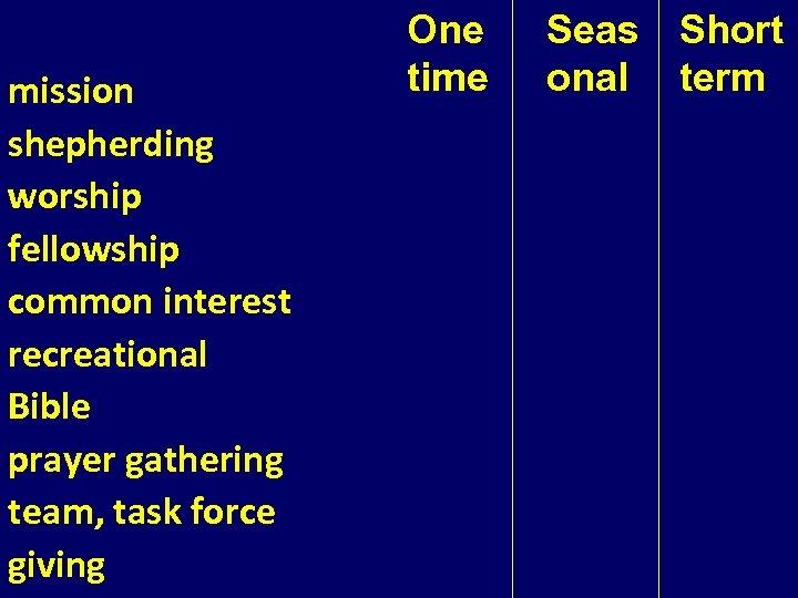 mission shepherding worship fellowship common interest recreational Bible prayer gathering team, task force giving