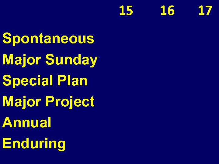 15 Spontaneous Major Sunday Special Plan Major Project Annual Enduring 16 17