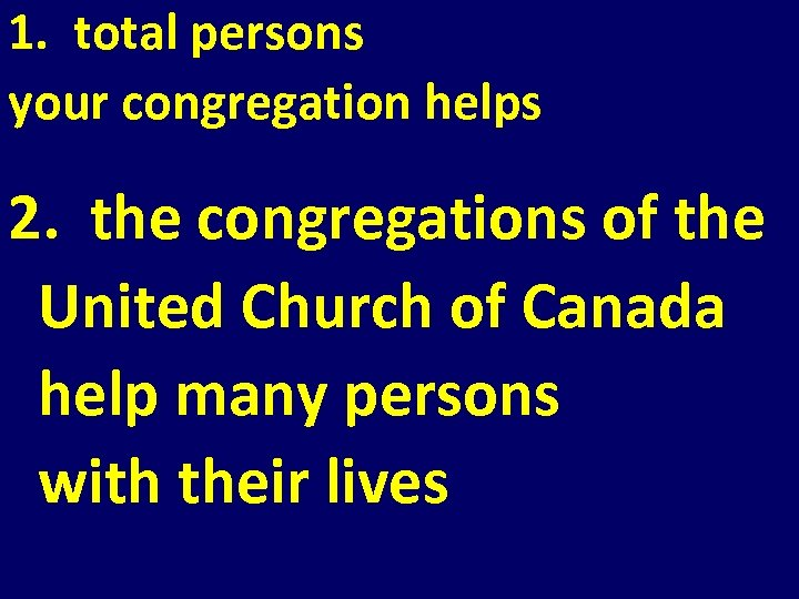 1. total persons your congregation helps 2. the congregations of the United Church of