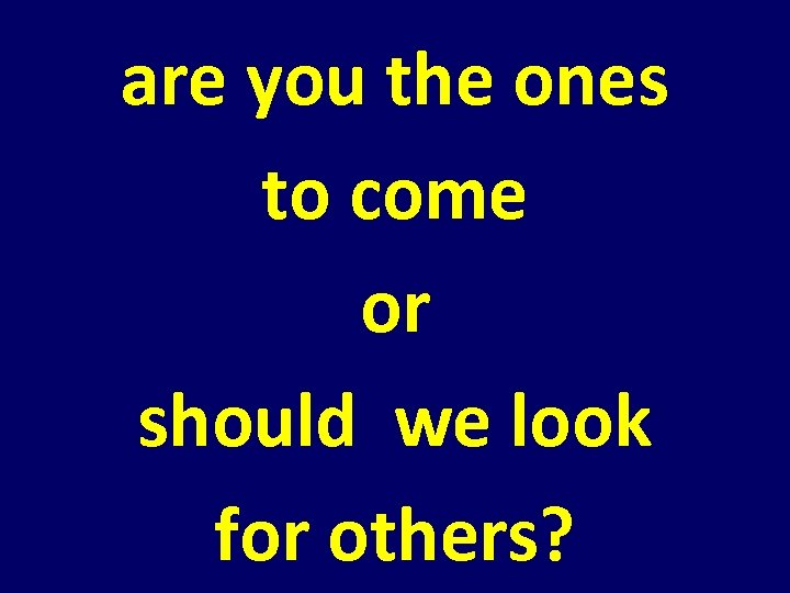 are you the ones to come or should we look for others?