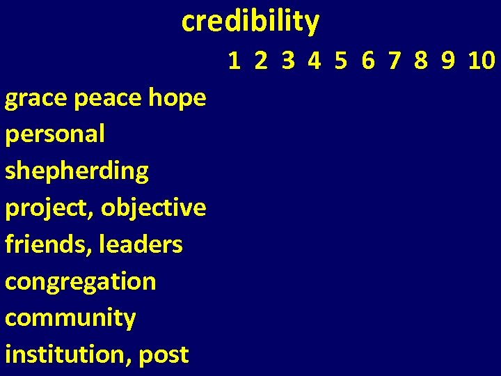 credibility 1 2 3 4 5 6 7 8 9 10 grace peace hope