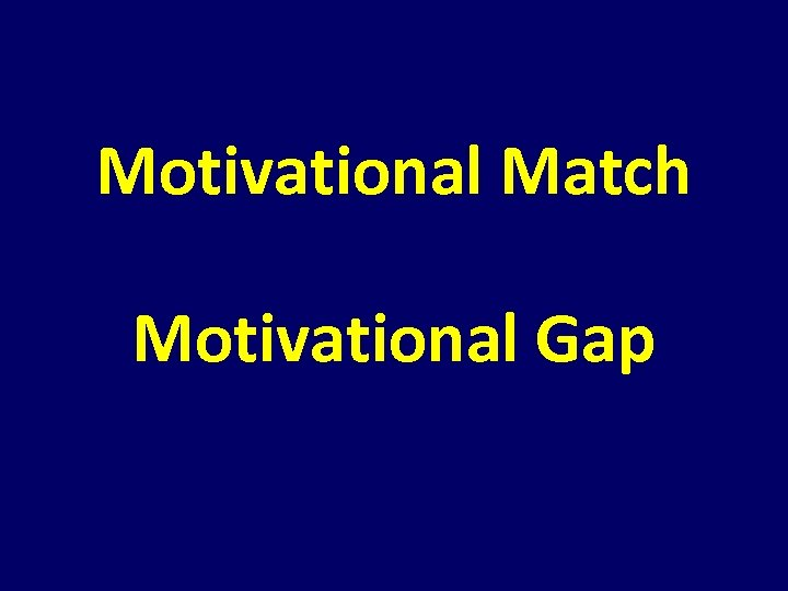 Motivational Match Motivational Gap