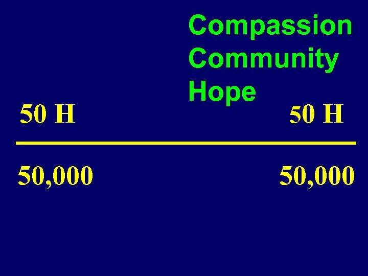 50 H 50, 000 Compassion Community Hope 50 H 50, 000