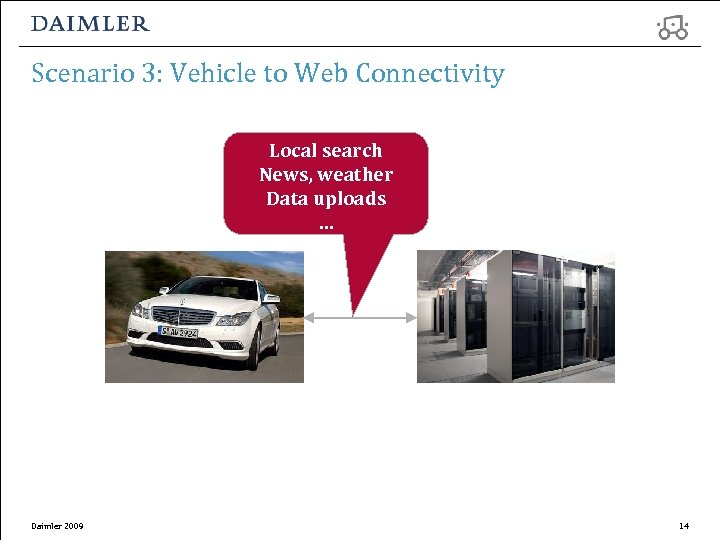 Scenario 3: Vehicle to Web Connectivity Local search News, weather Data uploads … Daimler
