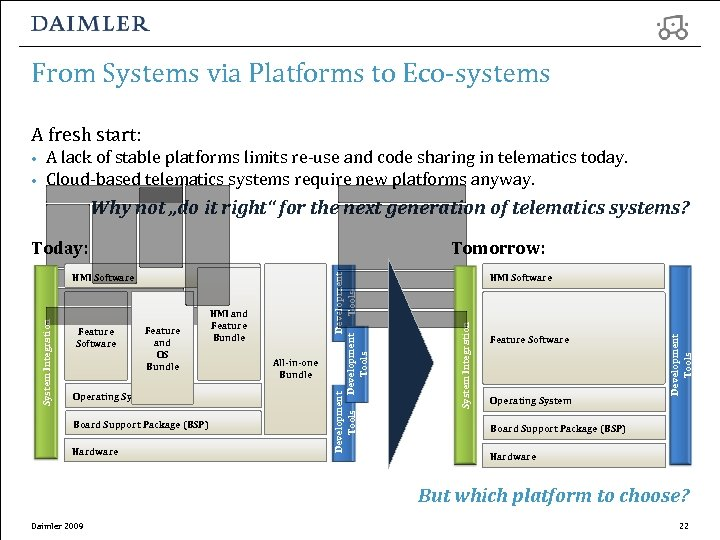 From Systems via Platforms to Eco-systems A fresh start: • • A lack of