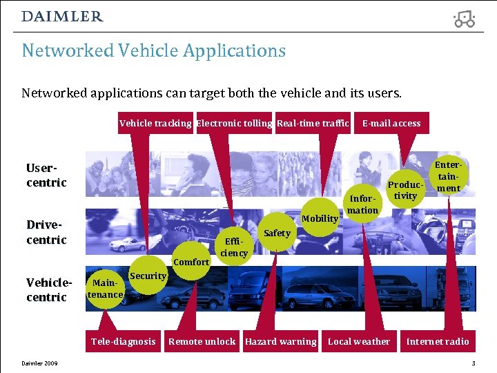 Networked Vehicle Applications Networked applications can target both the vehicle and its users. Vehicle