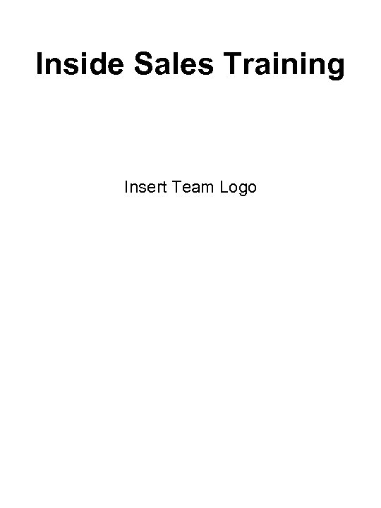 Inside Sales Training Insert Team Logo