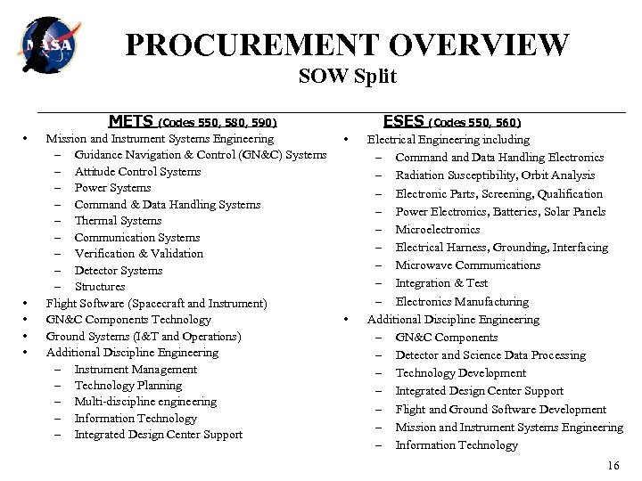 PROCUREMENT OVERVIEW SOW Split METS (Codes 550, 580, 590) • • • Mission and