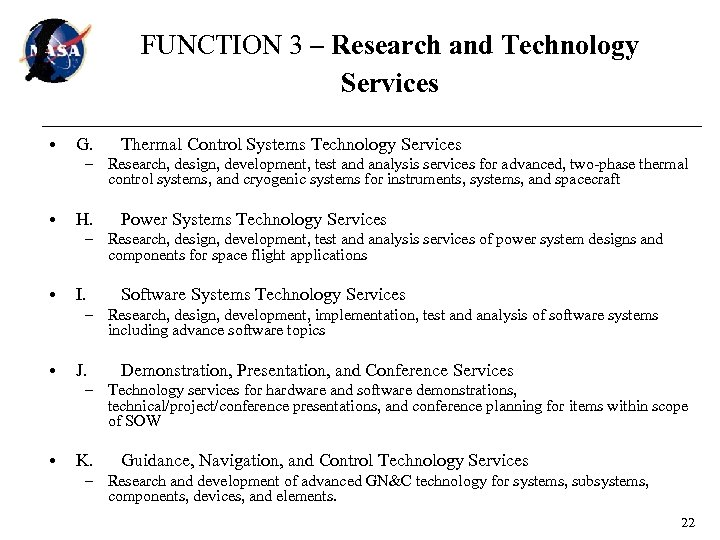 FUNCTION 3 – Research and Technology Services • G. Thermal Control Systems Technology Services