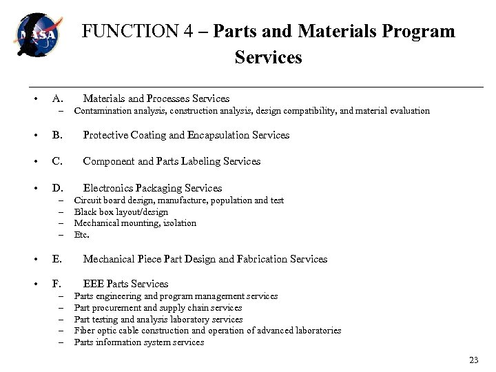 FUNCTION 4 – Parts and Materials Program Services • A. – Materials and Processes