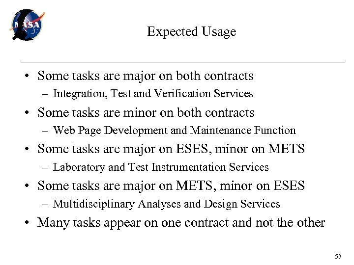 Expected Usage • Some tasks are major on both contracts – Integration, Test and
