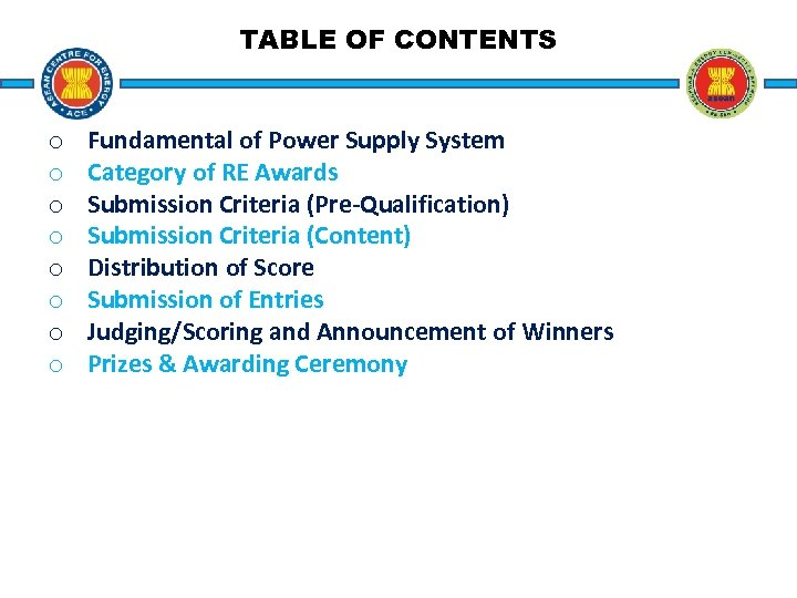 TABLE OF CONTENTS o o o o Fundamental of Power Supply System Category of
