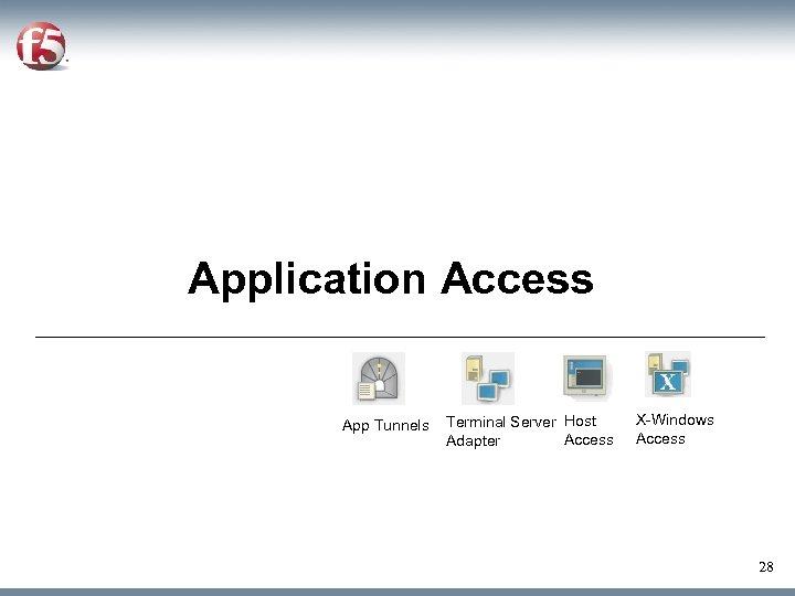Application Access App Tunnels Terminal Server Host Access Adapter X-Windows Access 28