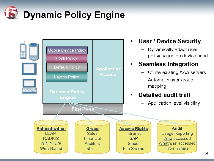 Dynamic Policy Engine • User / Device Security – Dynamically adapt user policy based