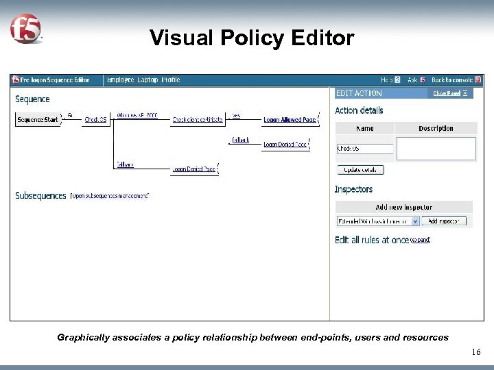 Visual Policy Editor Graphically associates a policy relationship between end-points, users and resources 16